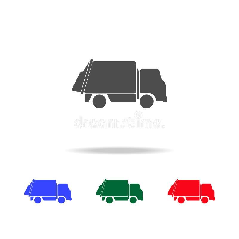 εικονίδια φορτηγών απορριμάτων Στοιχεία του στοιχείου μεταφορών στα πολυ χρωματισμένα εικονίδια Γραφικό εικονίδιο σχεδίου εξαιρετ διανυσματική απεικόνιση