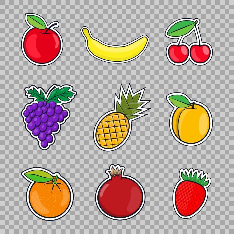 Εικονίδια φρούτων συλλογής σε ένα επίπεδο ύφος της λαϊκής τέχνης που απομονώνεται στο διαφανές υπόβαθρο διανυσματική απεικόνιση