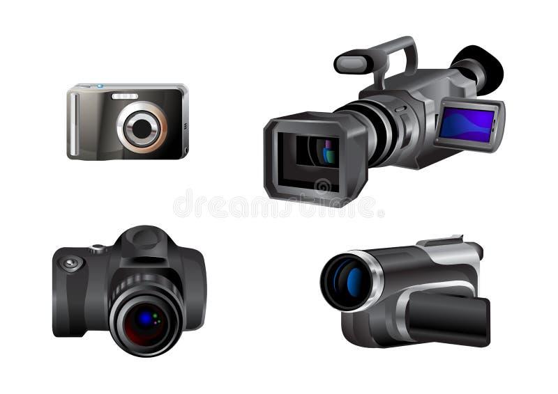 Εικονίδια φωτογραφικών μηχανών βίντεο και φωτογραφιών ελεύθερη απεικόνιση δικαιώματος