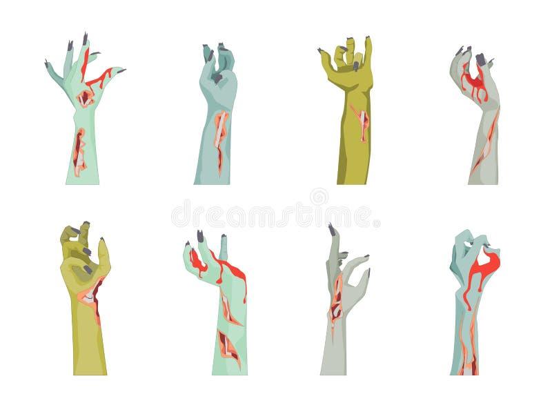 Εικονίδια χεριών Zombie κινούμενων σχεδίων καθορισμένα διάνυσμα διανυσματική απεικόνιση
