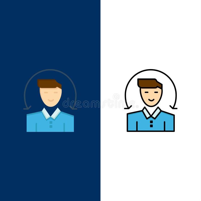Εικονίδια χρήστη, αρσενικού, πελάτη, υπηρεσιών Μπλε διανυσματικό φόντο συνόλου εικονιδίων με γέμισμα επίπεδης γραμμής απεικόνιση αποθεμάτων