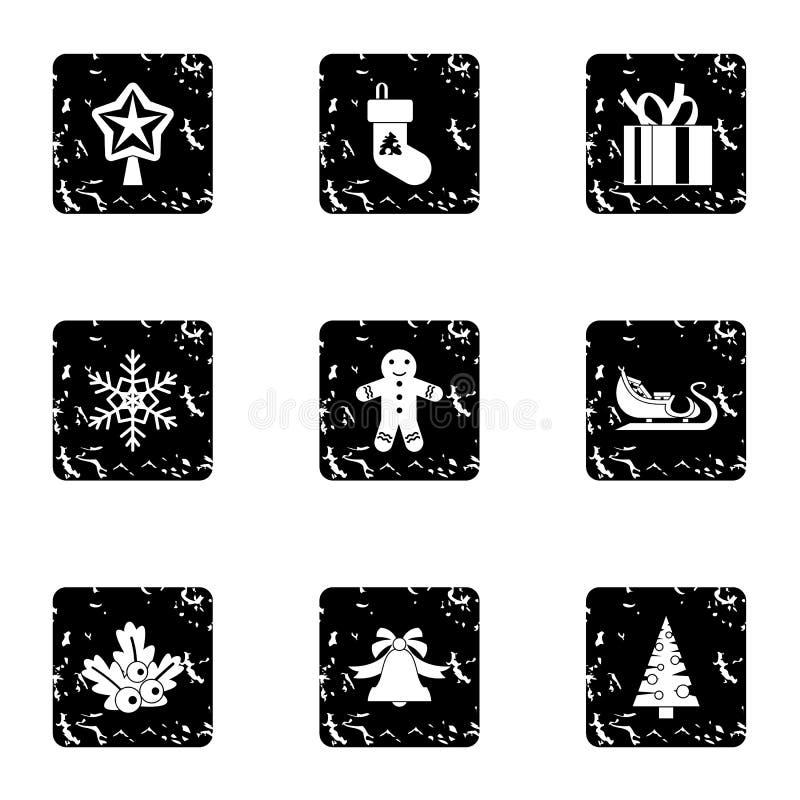 Εικονίδια Χριστουγέννων καθορισμένα, grunge ύφος απεικόνιση αποθεμάτων
