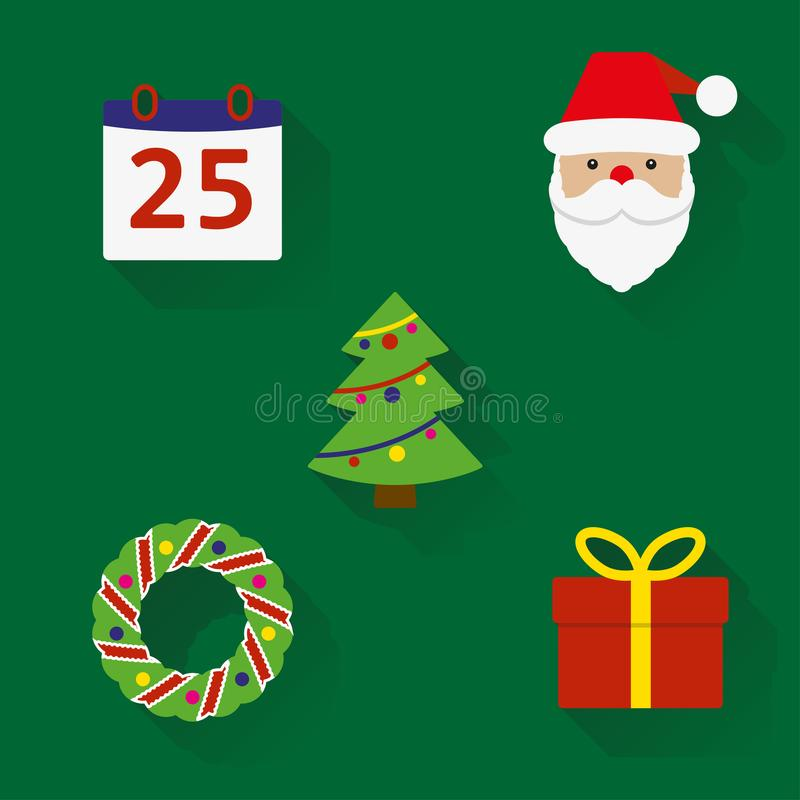 εικονίδια Χριστουγέννων που τίθενται Νέα σύμβολα έτους και Χριστουγέννων στο επίπεδο ύφος με τη μακριά σκιά ζωηρόχρωμο έννοιας δι ελεύθερη απεικόνιση δικαιώματος