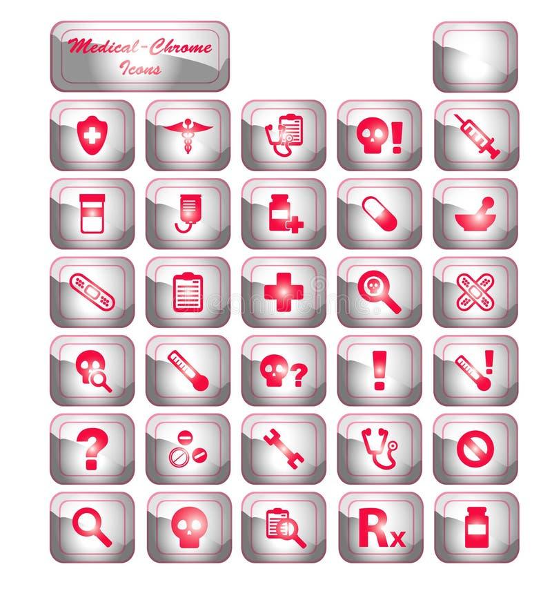 εικονίδια χρωμίου ιατρικά στοκ εικόνες