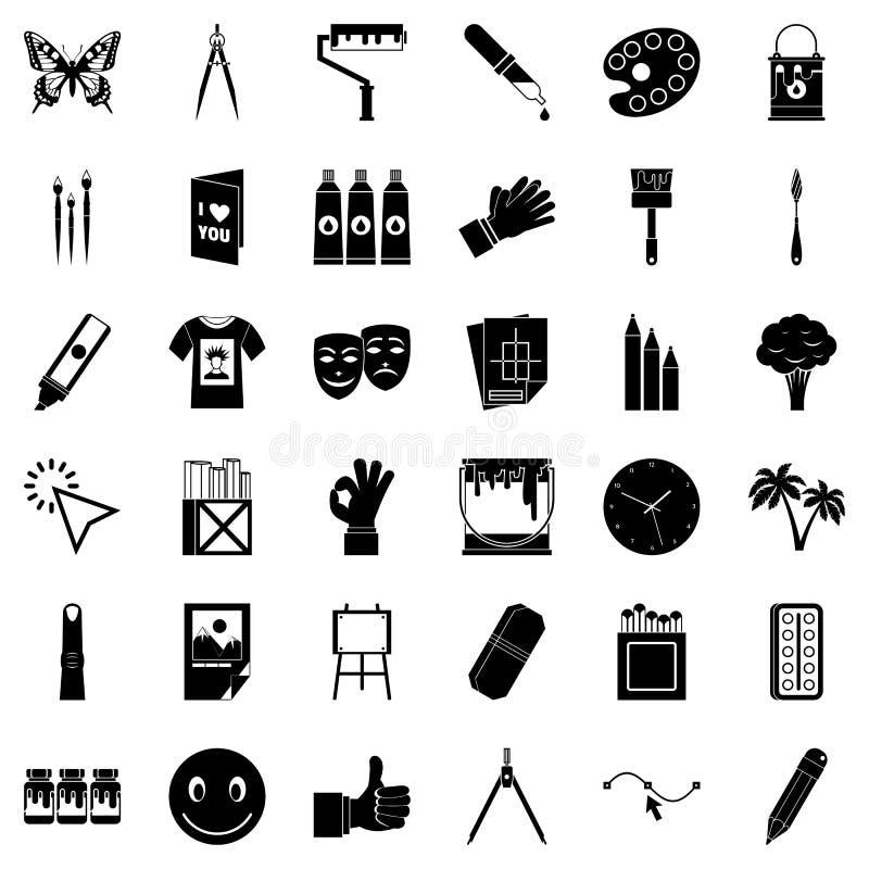 Εικονίδια χρωστικών ουσιών καθορισμένα, απλό ύφος ελεύθερη απεικόνιση δικαιώματος