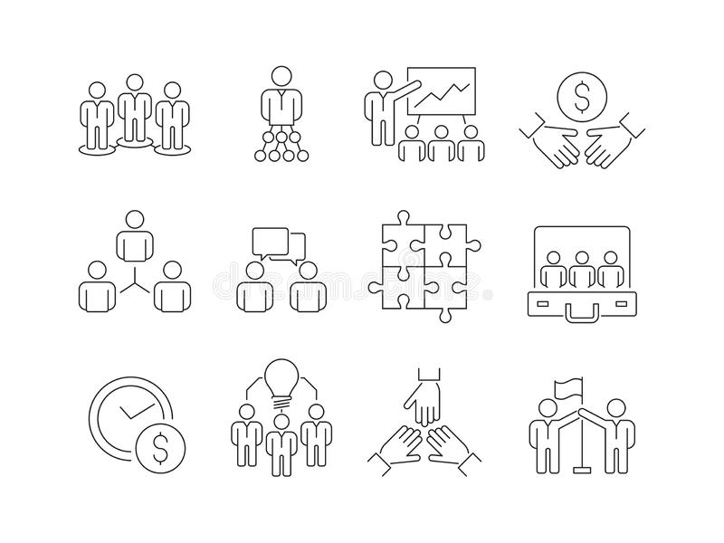 Εικονίδια χτισίματος ομάδας Ομάδα εργασίας της βοήθειας επιχειρηματιών μαζί που τα διανυσματικά λεπτά σύμβολα γραμμών συμμετοχής διανυσματική απεικόνιση