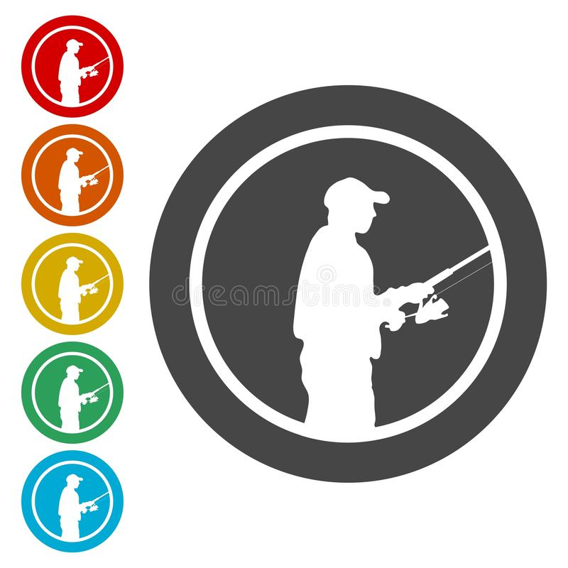 Εικονίδια ψαράδων καθορισμένα ελεύθερη απεικόνιση δικαιώματος