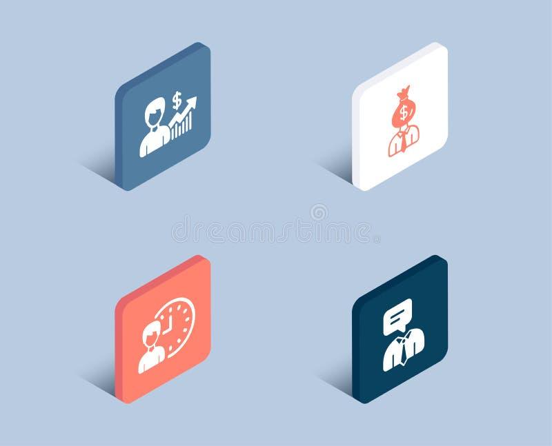 Εικονίδια ωρών επιχειρησιακών αύξησης, διευθυντών και απασχόλησης Σημάδι υπηρεσίας υποστήριξης απεικόνιση αποθεμάτων