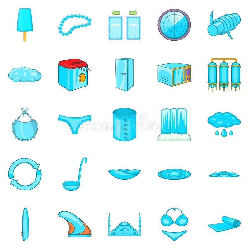 Εικονίδια Beachwear καθορισμένα, ύφος κινούμενων σχεδίων διανυσματική απεικόνιση