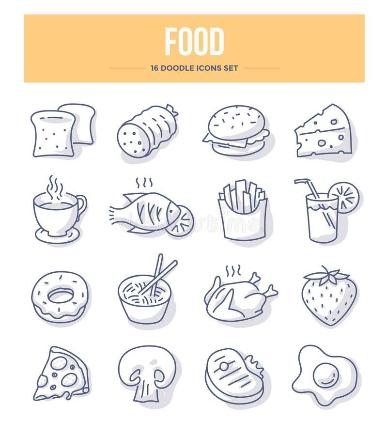 Εικονίδια Doodle τροφίμων & ποτών ελεύθερη απεικόνιση δικαιώματος