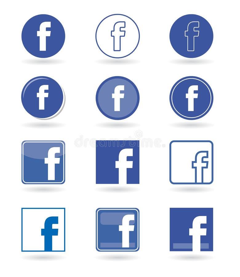 Εικονίδια Facebook, κοινωνικά εικονίδια μέσων καθορισμένα διανυσματικά διανυσματική απεικόνιση