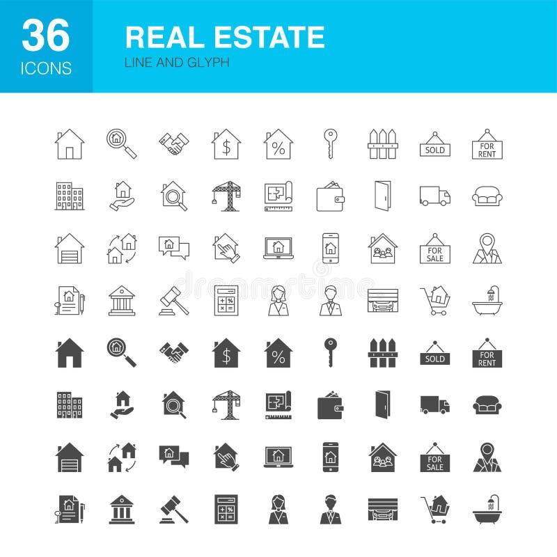 Εικονίδια Glyph Ιστού γραμμών ακίνητων περιουσιών απεικόνιση αποθεμάτων