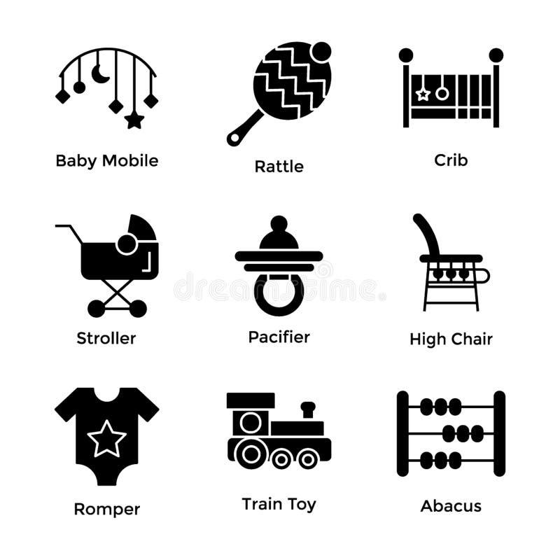 Εικονίδια Glyph παιχνιδιών μωρών διανυσματική απεικόνιση