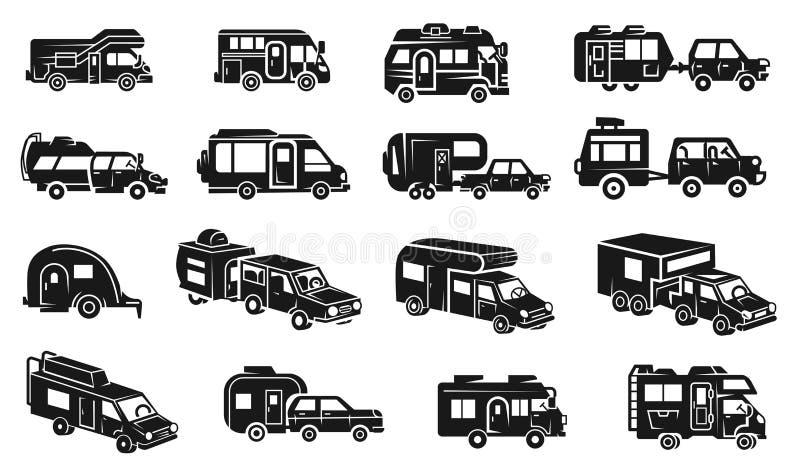 Εικονίδια Motorhome καθορισμένα, απλό ύφος απεικόνιση αποθεμάτων