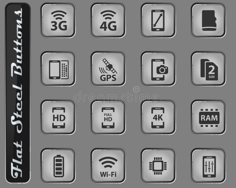 Εικονίδια Smarthone specs απλά διανυσματική απεικόνιση