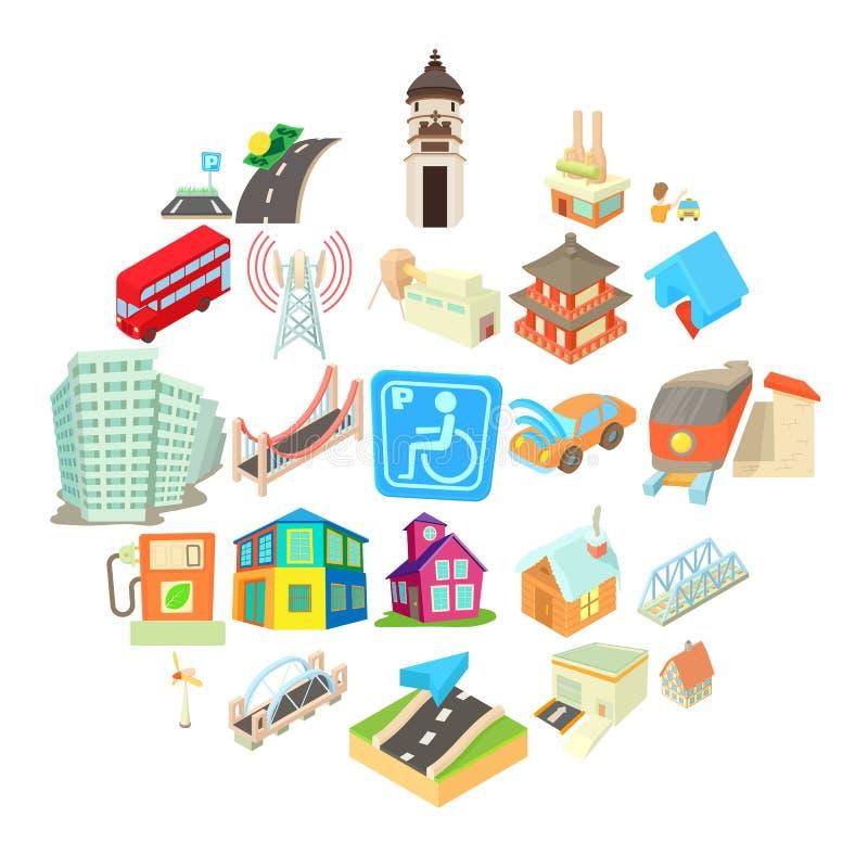 Εικονίδια Towny καθορισμένα, ύφος κινούμενων σχεδίων απεικόνιση αποθεμάτων