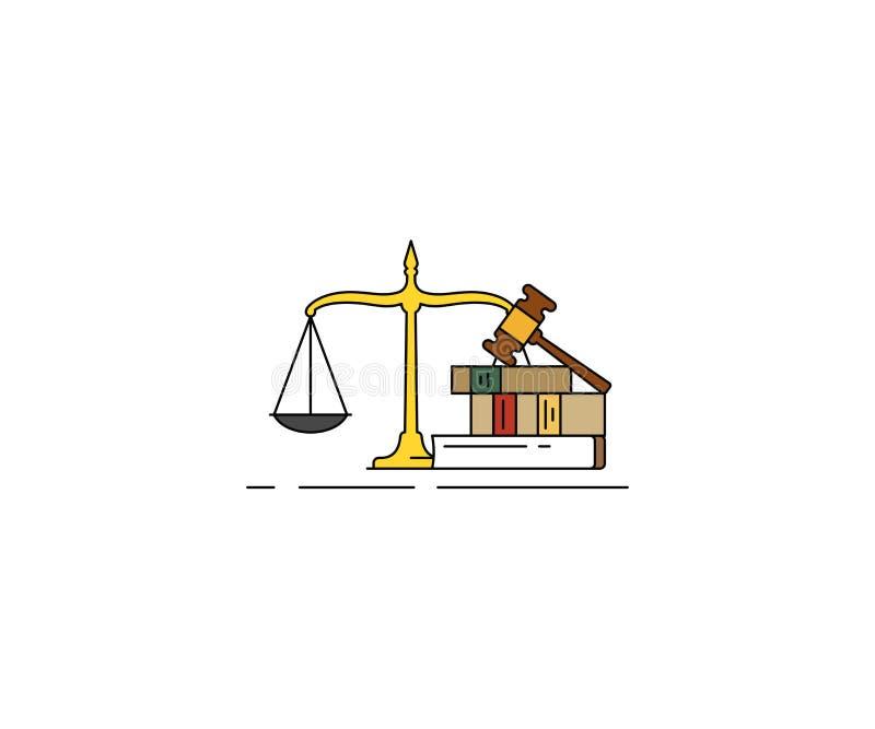 Εικονίδιο έννοιας νόμου και δικαιοσύνης Νομικό διανυσματικό σχέδιο γραμμών διανυσματική απεικόνιση