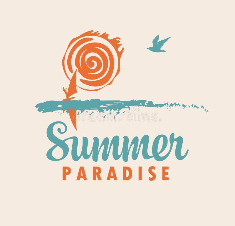 Εικονίδιο ή λογότυπο θερινού ταξιδιού με τη θάλασσα, ήλιος, surfer ελεύθερη απεικόνιση δικαιώματος