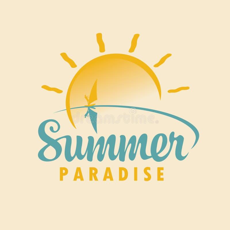 Εικονίδιο ή λογότυπο θερινού ταξιδιού με τη θάλασσα, ήλιος, surfer απεικόνιση αποθεμάτων
