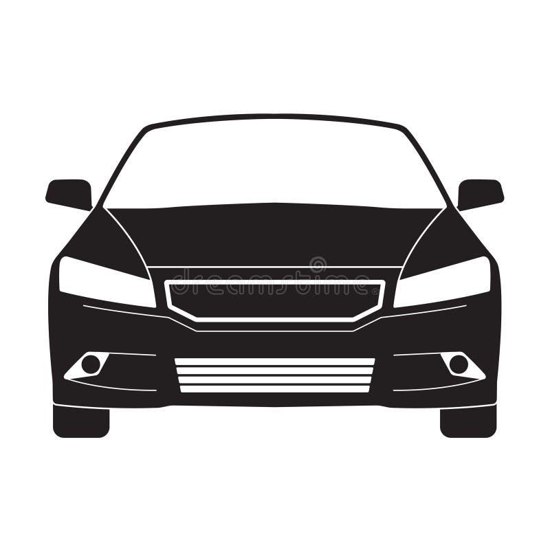 Εικονίδιο ή σημάδι περιλήψεων αυτοκινήτων Διανυσματική μαύρη σκιαγραφία οχημάτων που απομονώνεται στο άσπρο υπόβαθρο Μπροστινή όψ απεικόνιση αποθεμάτων