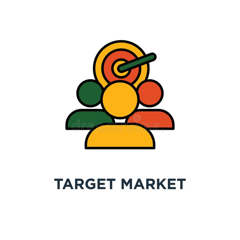 εικονίδιο αγοράς στόχων σχέδιο συμβόλων έννοιας ακροατηρίων, ομάδα εστίασης, που και που, διάνυσμα δημόσιων σχέσεων ελεύθερη απεικόνιση δικαιώματος