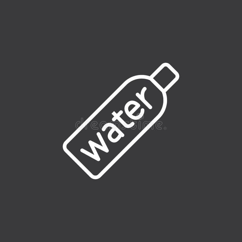 Εικονίδιο αθλητικών μπουκαλιών νερό γραμμών στο σκοτεινό υπόβαθρο απεικόνιση αποθεμάτων