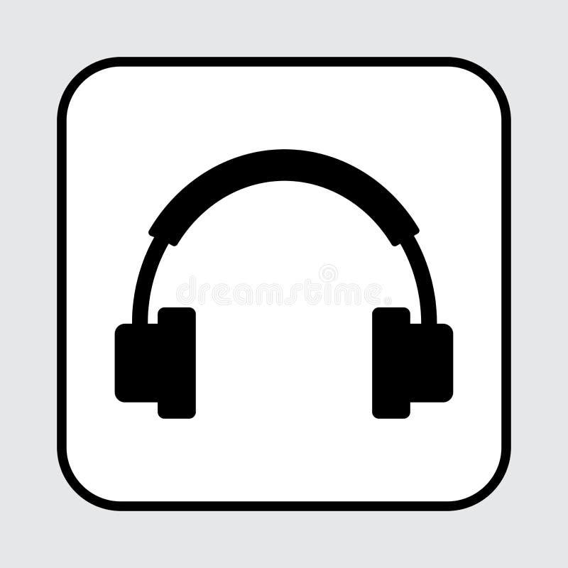Εικονίδιο ακουστικών, μαύρη σκιαγραφία r απεικόνιση αποθεμάτων