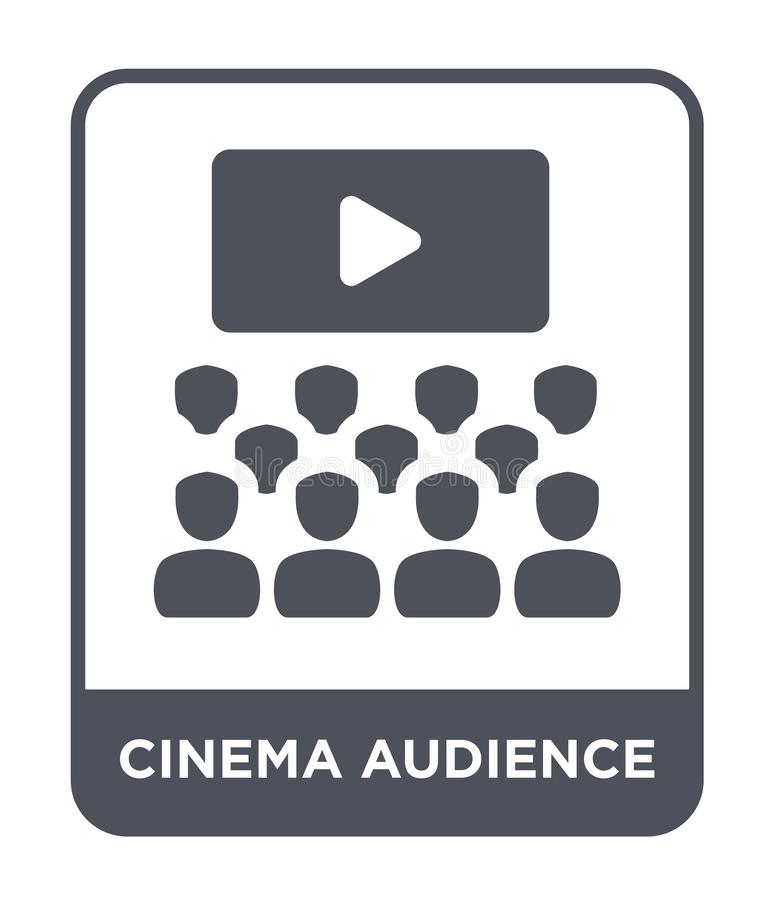 εικονίδιο ακροατηρίων κινηματογράφων στο καθιερώνον τη μόδα ύφος σχεδίου εικονίδιο ακροατηρίων κινηματογράφων που απομονώνεται στ απεικόνιση αποθεμάτων