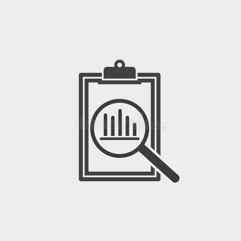 Εικονίδιο ανάλυσης σε ένα επίπεδο σχέδιο επίσης corel σύρετε το διάνυσμα απεικόνισης απεικόνιση αποθεμάτων