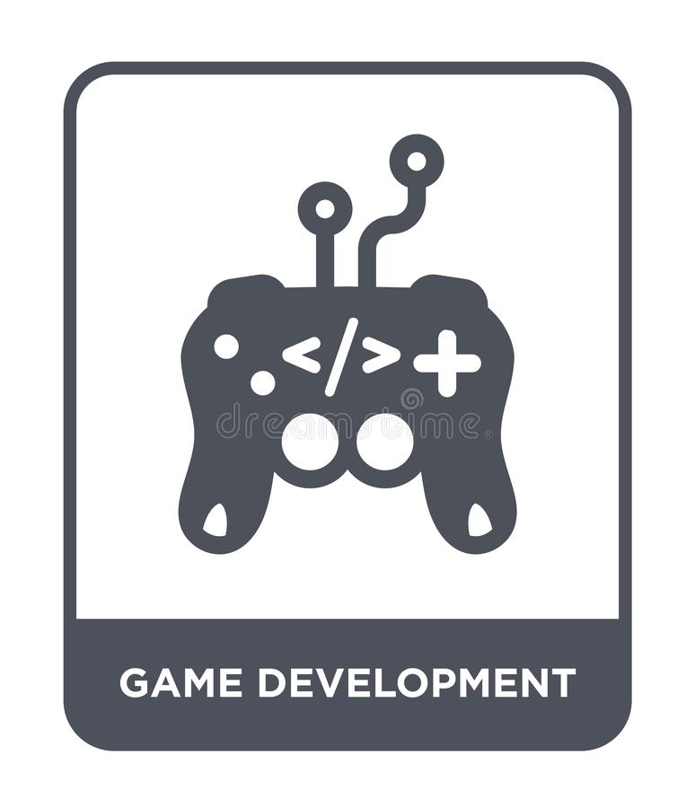 εικονίδιο ανάπτυξης παιχνιδιών στο καθιερώνον τη μόδα ύφος σχεδίου εικονίδιο ανάπτυξης παιχνιδιών που απομονώνεται στο άσπρο υπόβ διανυσματική απεικόνιση