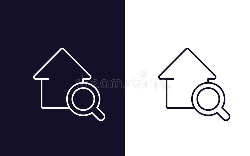 Εικονίδιο αναζήτησης σπιτιών, διανυσματικό λογότυπο ακίνητων περιουσιών απεικόνιση αποθεμάτων