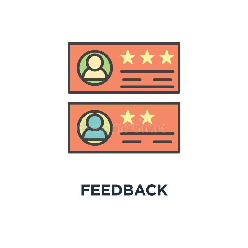 Εικονίδιο ανατροφοδότησης η εκτίμηση βράζει σχέδιο συμβόλων έννοιας, αναθεώρηση πελατών, σχόλιο με την ταξινόμηση, των μηνυμάτων  διανυσματική απεικόνιση