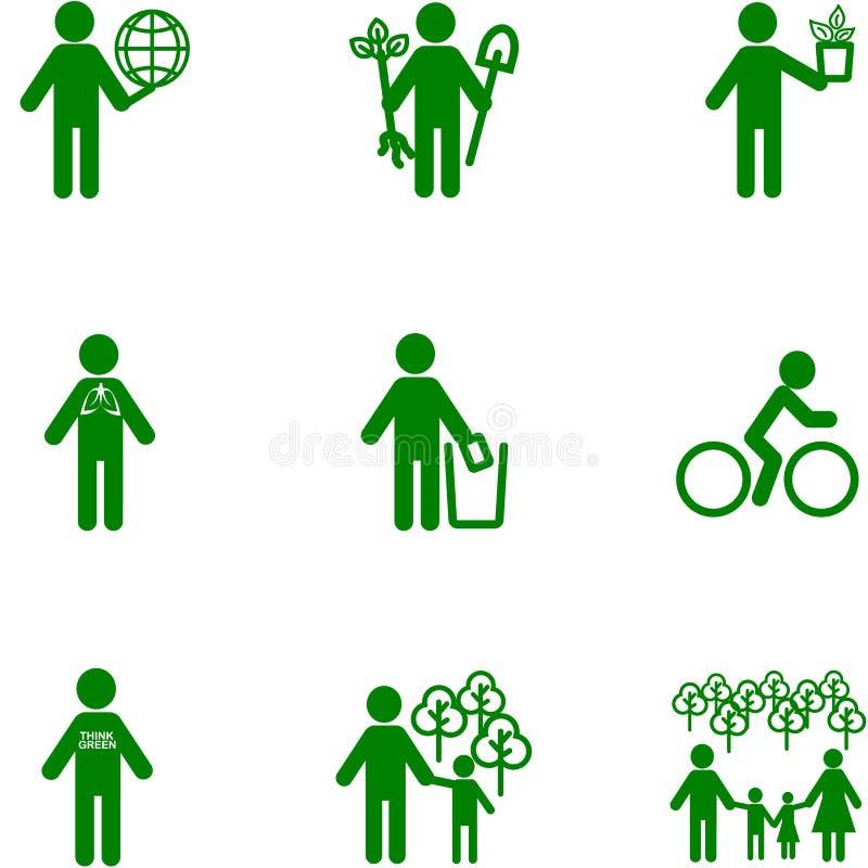 Εικονίδιο ανθρώπων στο θέμα της οικολογίας διανυσματική απεικόνιση