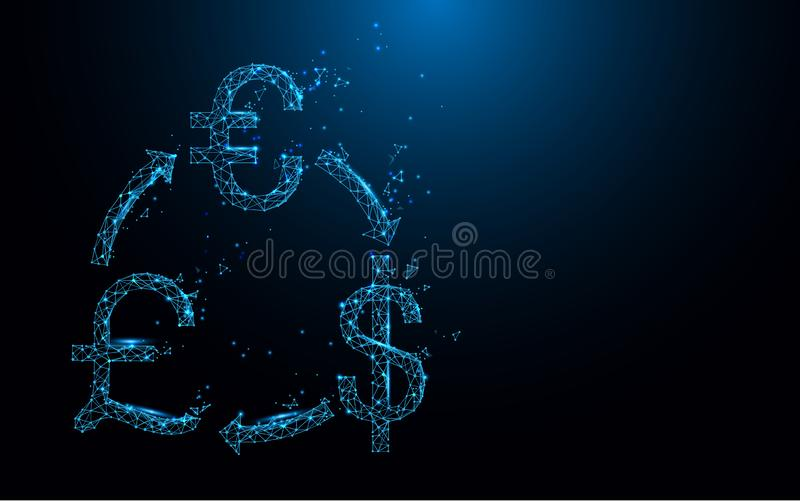 Εικονίδιο ανταλλαγής χρημάτων από τις γραμμές, τα τρίγωνα και το σχέδιο ύφους μορίων ελεύθερη απεικόνιση δικαιώματος