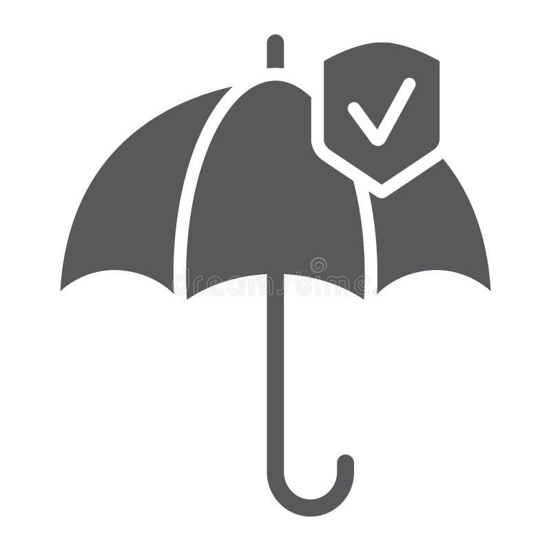 Εικονίδιο αξιοπιστίας glyph, προστασία και αξιόπιστος, σημάδι ομπρελών, διανυσματική γραφική παράσταση, ένα στερεό σχέδιο σε ένα  διανυσματική απεικόνιση