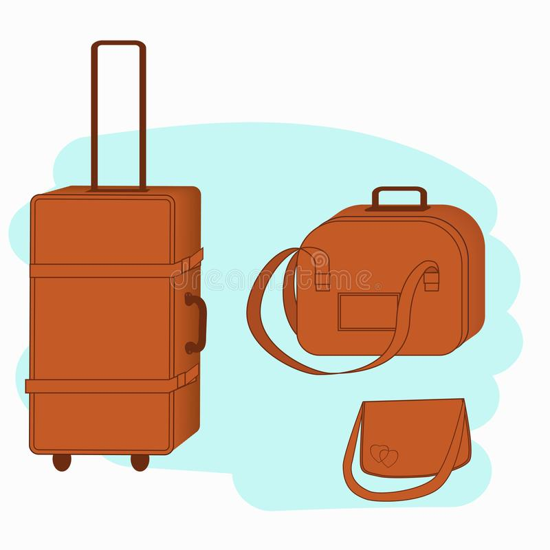 Εικονίδιο αποσκευών Τσάντες ταξιδιού αποσκευών που απομονώνονται στο μπλε υπόβαθρο διανυσματική απεικόνιση