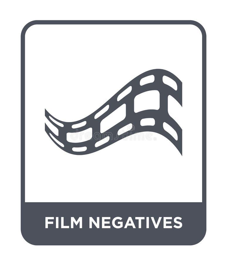 εικονίδιο αρνητικών ταινιών στο καθιερώνον τη μόδα ύφος σχεδίου εικονίδιο αρνητικών ταινιών που απομονώνεται στο άσπρο υπόβαθρο δ απεικόνιση αποθεμάτων