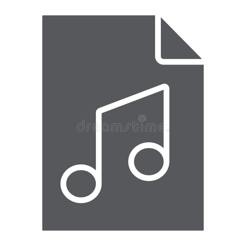 Εικονίδιο αρχείων μουσικής glyph, μουσική και υγιές, ακουστικό σημάδι αρχείων, διανυσματική γραφική παράσταση, ένα στερεό σχέδιο  ελεύθερη απεικόνιση δικαιώματος