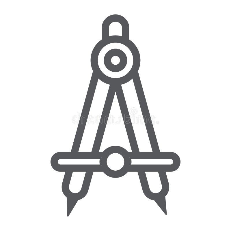Εικονίδιο, αρχιτέκτονας και σύνταξη γραμμών σχολικών πυξίδων, σημάδι εξοπλισμού εφαρμοσμένης μηχανικής, διανυσματική γραφική παρά διανυσματική απεικόνιση