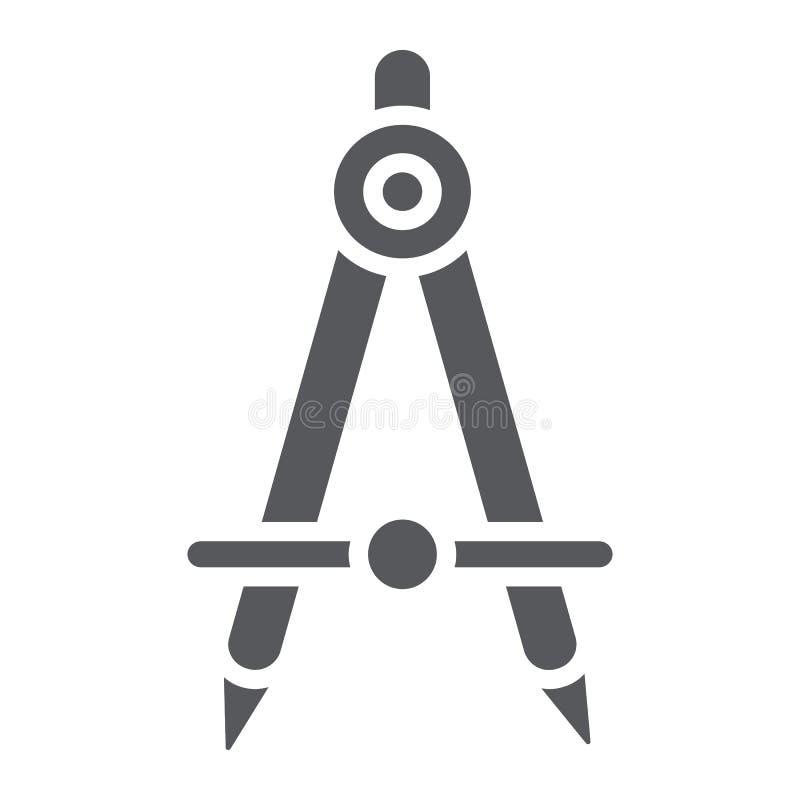 Εικονίδιο, αρχιτέκτονας και σύνταξη σχολικών πυξίδων glyph, σημάδι εξοπλισμού εφαρμοσμένης μηχανικής, διανυσματική γραφική παράστ απεικόνιση αποθεμάτων