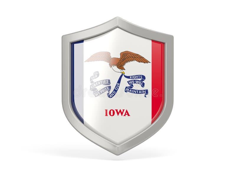 Εικονίδιο ασπίδων με τη σημαία του Iowa Ηνωμένες τοπικές σημαίες ελεύθερη απεικόνιση δικαιώματος