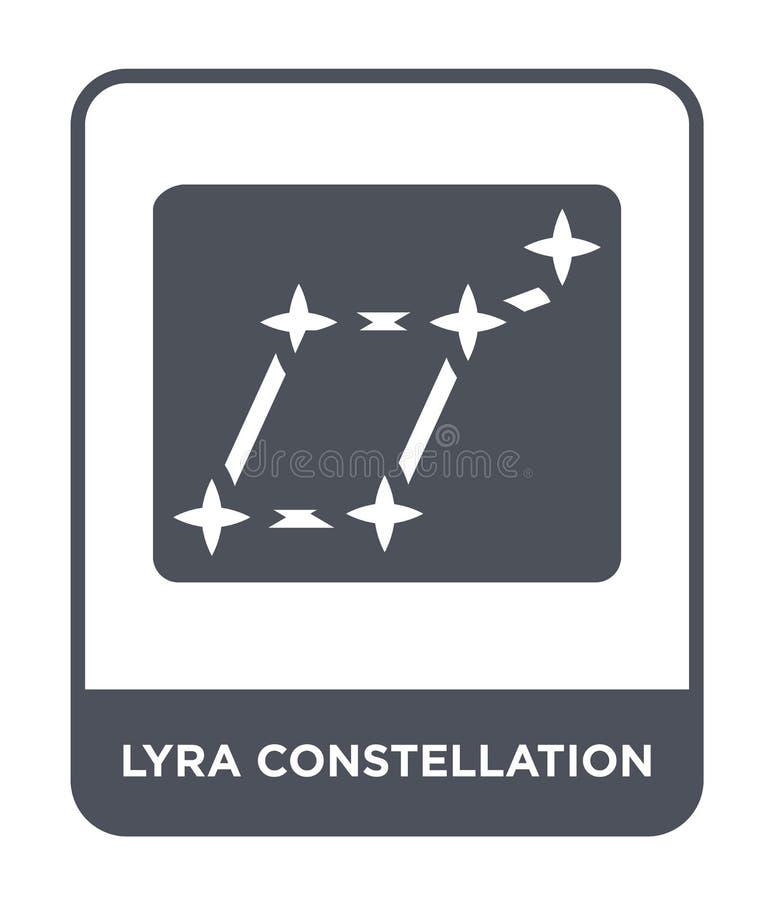 εικονίδιο αστερισμού lyra στο καθιερώνον τη μόδα ύφος σχεδίου εικονίδιο αστερισμού lyra που απομονώνεται στο άσπρο υπόβαθρο διάνυ απεικόνιση αποθεμάτων