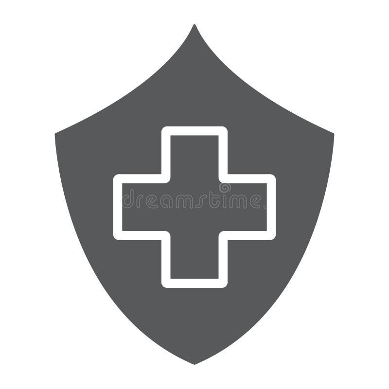 Εικονίδιο ασφάλειας υγείας glyph, ασφάλεια και προσοχή, σημάδι υγειονομικής περίθαλψης, διανυσματική γραφική παράσταση, ένα στερε απεικόνιση αποθεμάτων