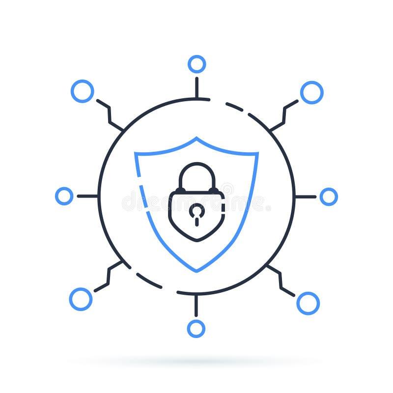 Εικονίδιο ασφάλειας Cyber επίσης corel σύρετε το διάνυσμα απεικόνισης Δίκτυο προστασίας με την κλειδαριά και την ασπίδα Κλειστή α διανυσματική απεικόνιση