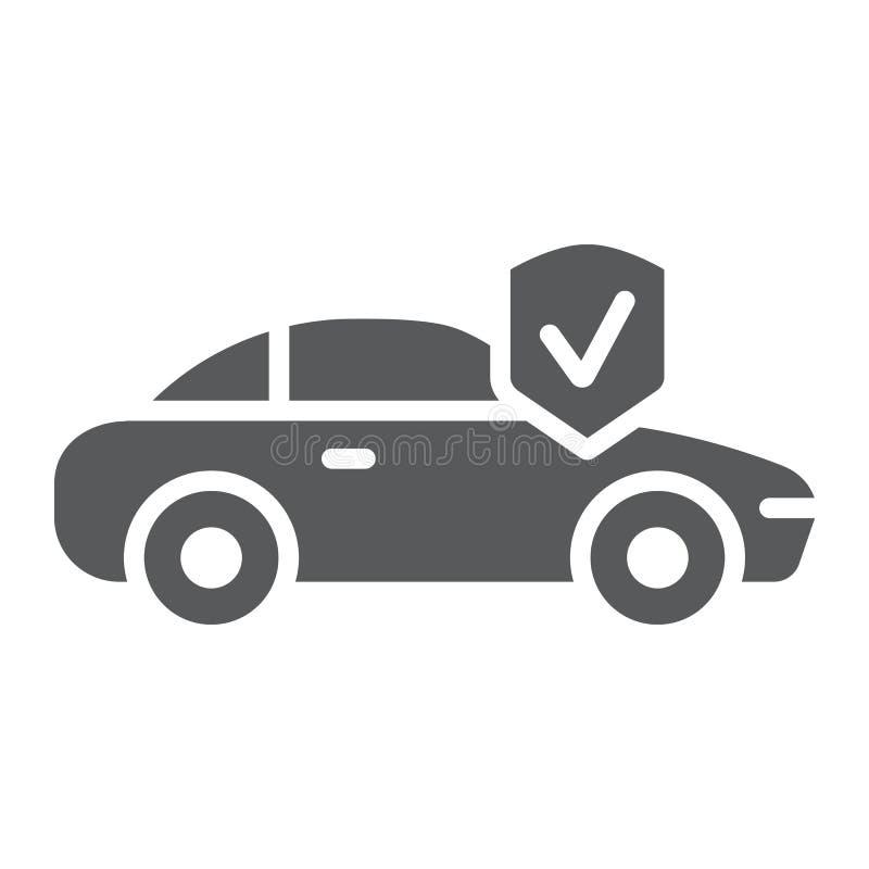 Εικονίδιο ασφαλείας αυτοκινήτου glyph, ασφάλεια και αυτόματο, αυτοκινητικό σημάδι προστασίας, διανυσματική γραφική παράσταση, ένα απεικόνιση αποθεμάτων