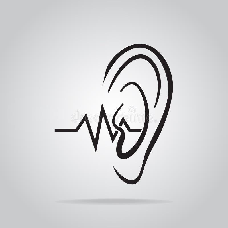 Εικονίδιο αυτιών, ακρόαση και εικονίδιο αυτιών ελεύθερη απεικόνιση δικαιώματος