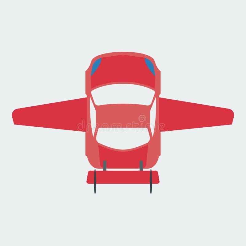 Εικονίδιο αυτοκινήτων που κινείται μέσω του αέρα Πετώντας αυτοκίνητο ελεύθερη απεικόνιση δικαιώματος