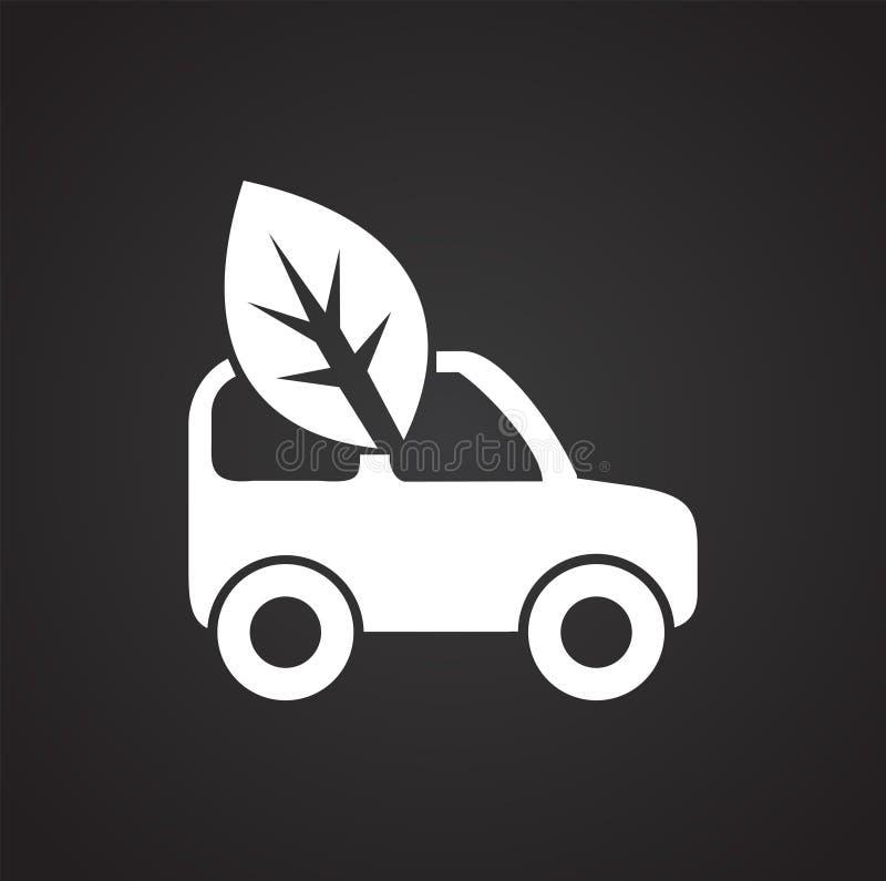 Εικονίδιο αυτοκινήτων Eco στο μαύρο υπόβαθρο για το γραφικό και σχέδιο Ιστού, σύγχρονο απλό διανυσματικό σημάδι μπλε έννοια Διαδί απεικόνιση αποθεμάτων