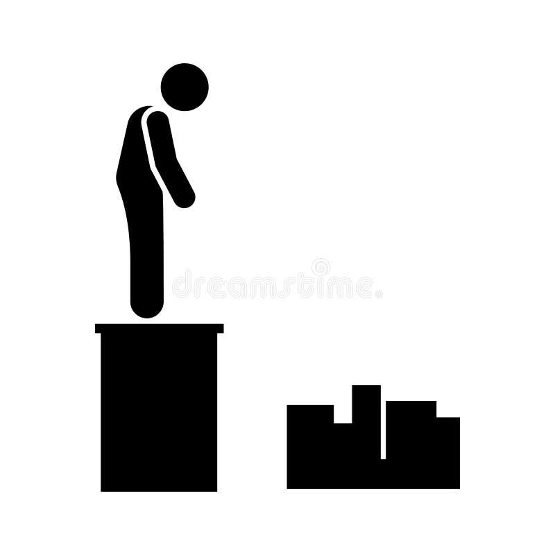 Εικονίδιο αυτοκτονίας οικοδόμησης ατόμων Στοιχείο της απεικόνισης θανάτου εικονογραμμάτων απεικόνιση αποθεμάτων