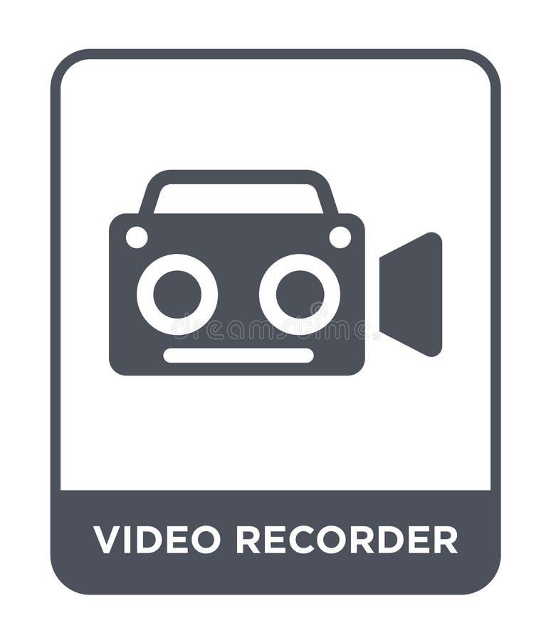 εικονίδιο βίντεο εγγραφής στο καθιερώνον τη μόδα ύφος σχεδίου εικονίδιο βίντεο εγγραφής που απομονώνεται στο άσπρο υπόβαθρο διανυ απεικόνιση αποθεμάτων